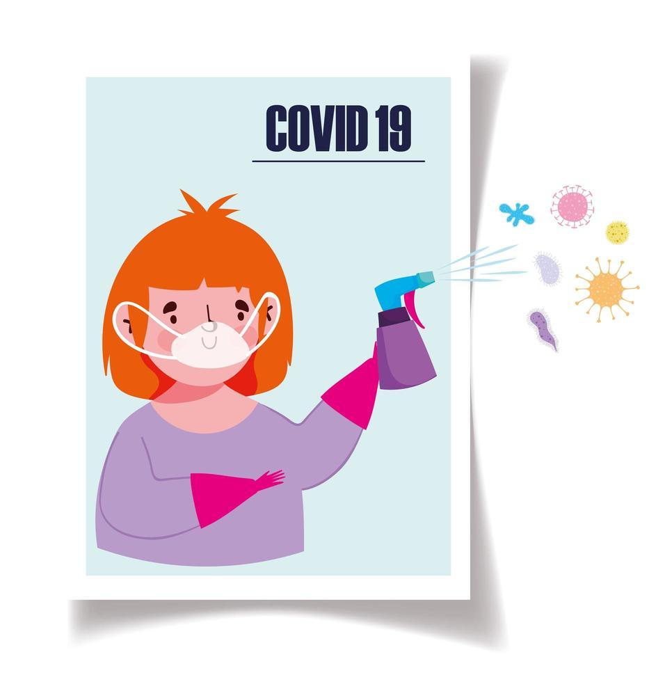 meisje met desinfecterende spray tegen coronavirus vector