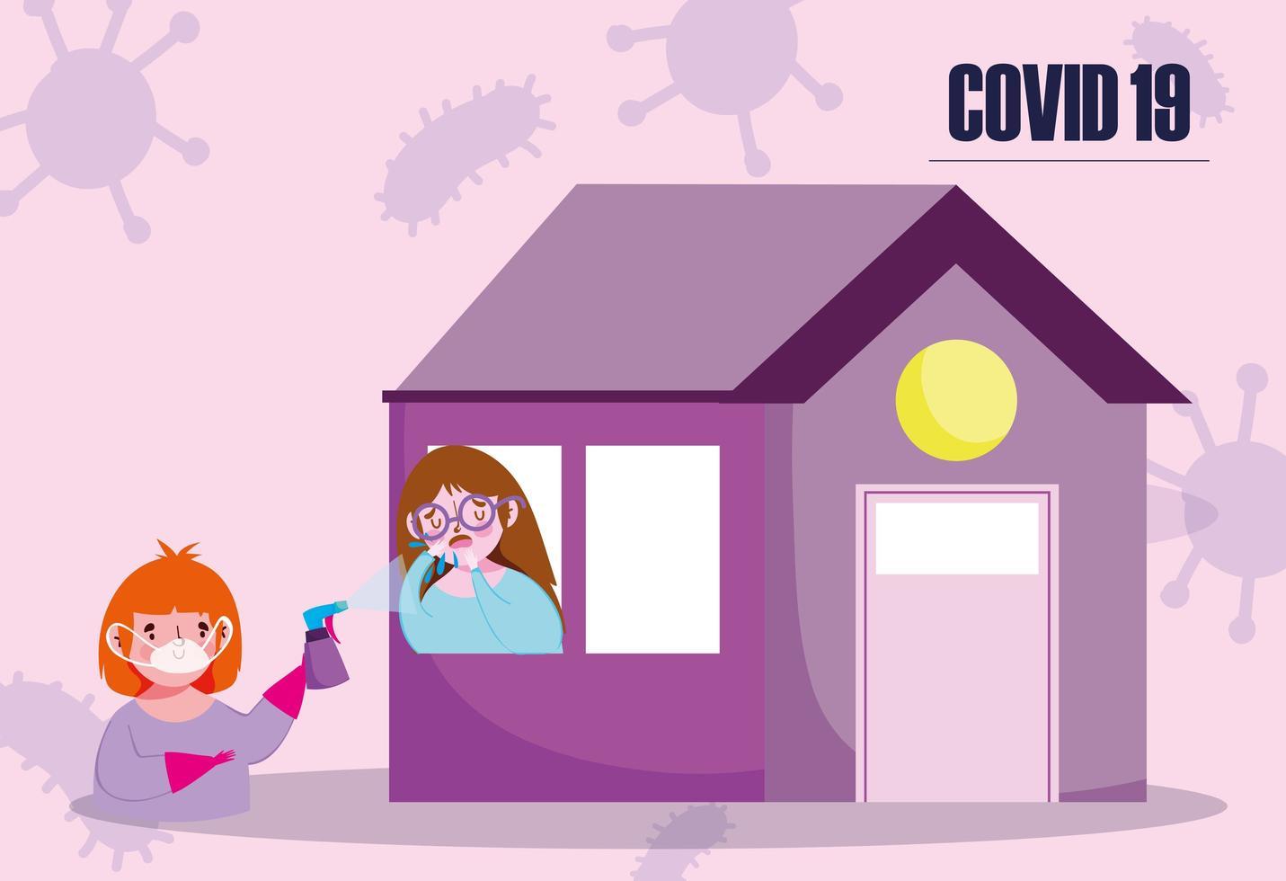 meisje met virale infectie in huis vector