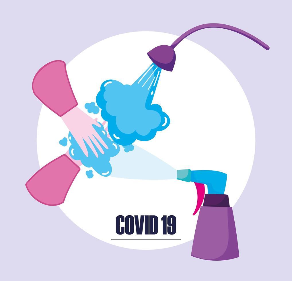 covid-19 banner voor desinfectie en preventie vector