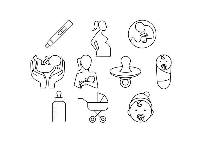 Gratis moederschap Line Icon Vector