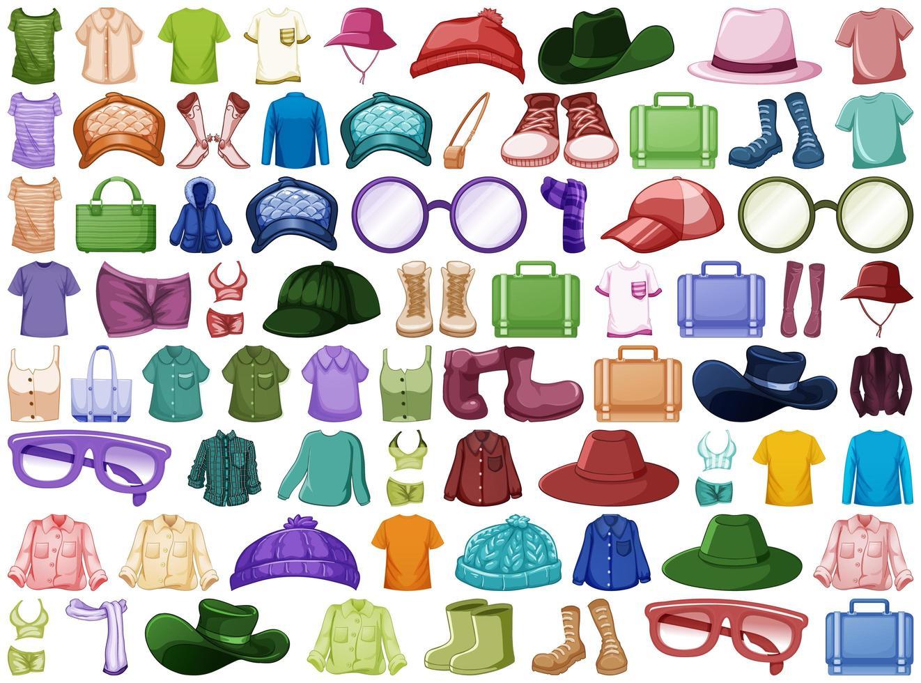 collectie mode-outfits en accessoires vector