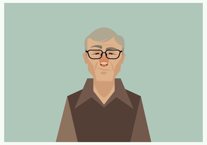 Headshot van lachende oude man Vector