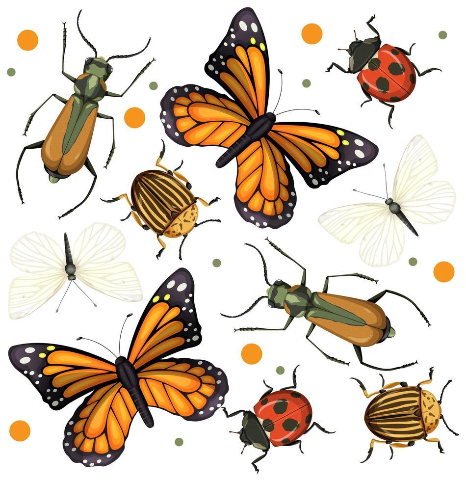 set van verschillende insecten en insecten vector