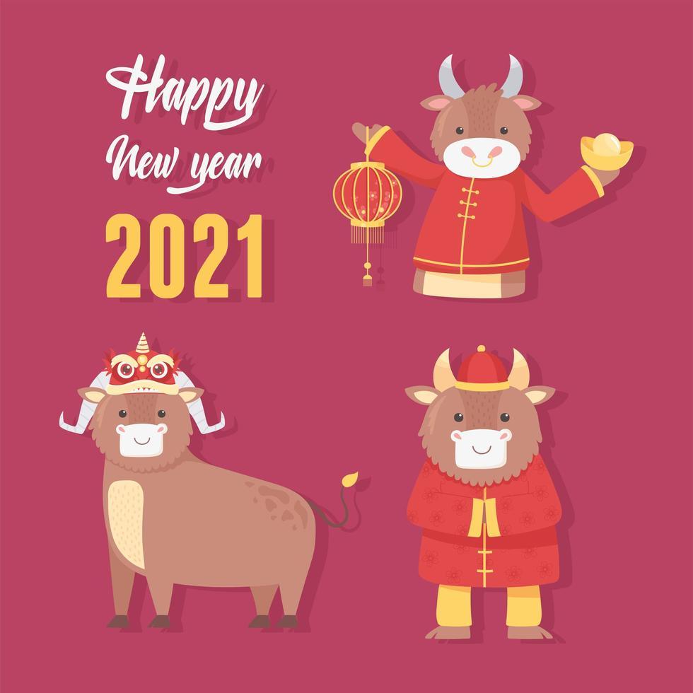 chinees nieuwjaar van de os pictogramserie vector