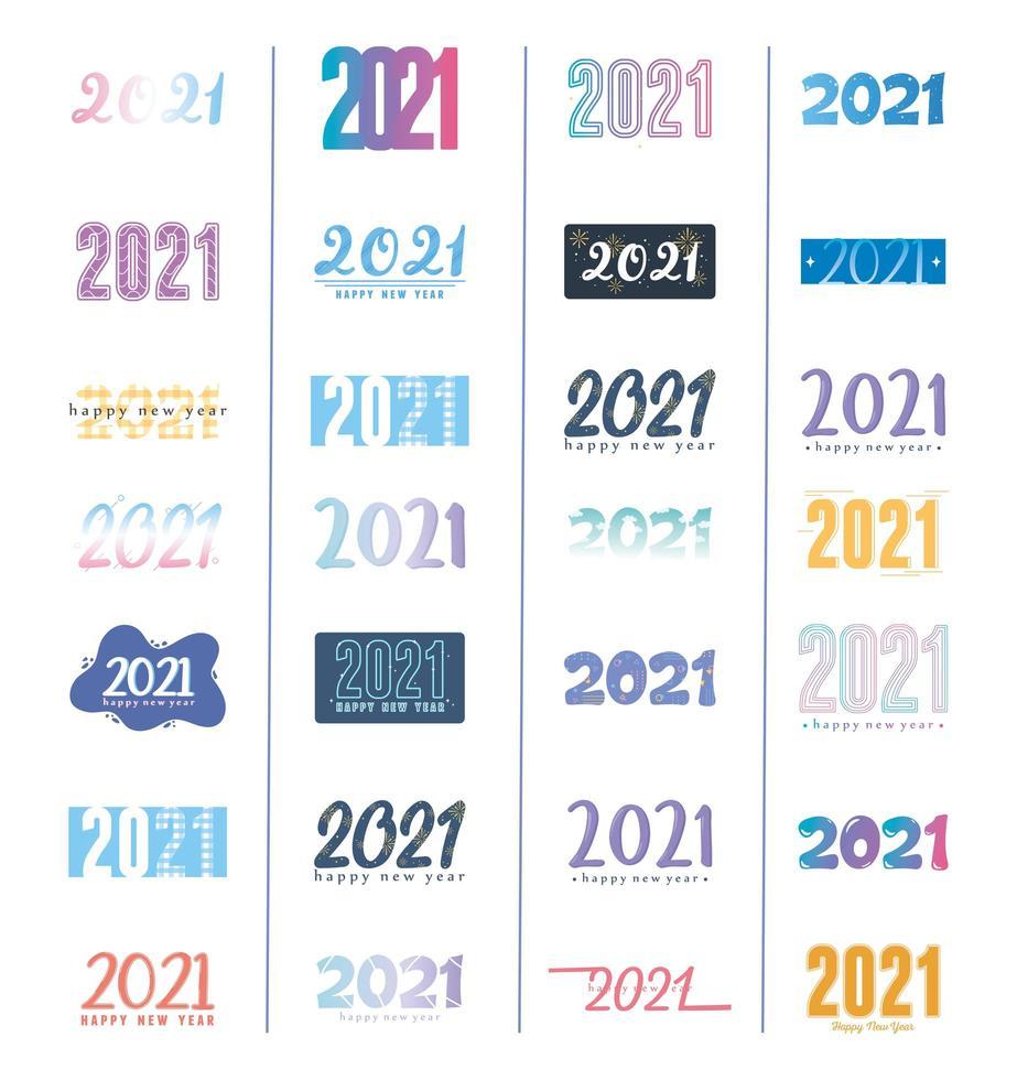 gelukkig nieuwjaar 2021 belettering set vector