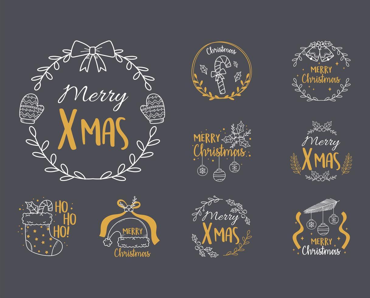 vrolijke kerstetiketcollectie vector