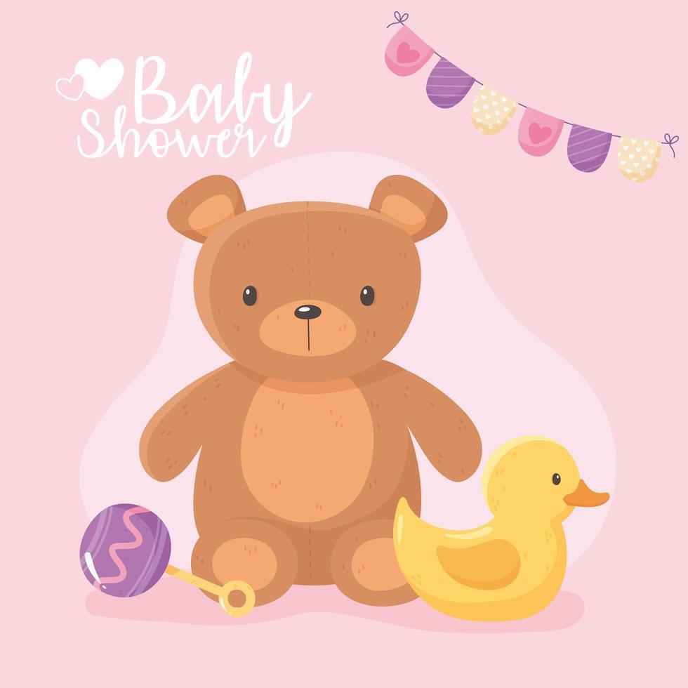 samenstelling van de babydouche met speelgoed vector