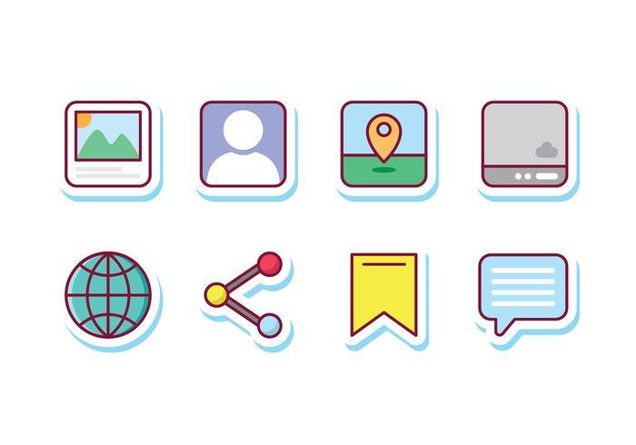 Sociale Media Sticker Pictogrammen vector