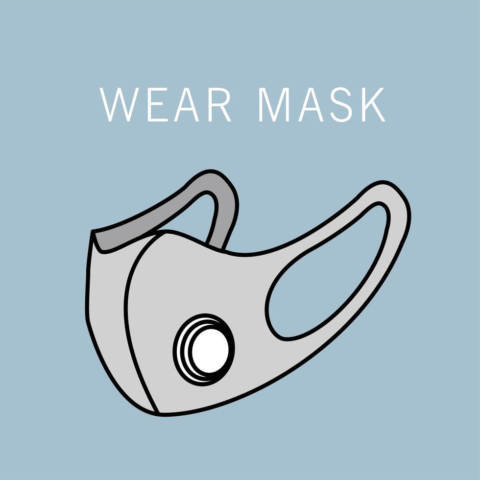 grijs medisch masker bescherming accessoire pictogram vector