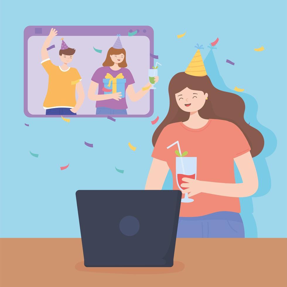 vrienden feesten en vieren online vector