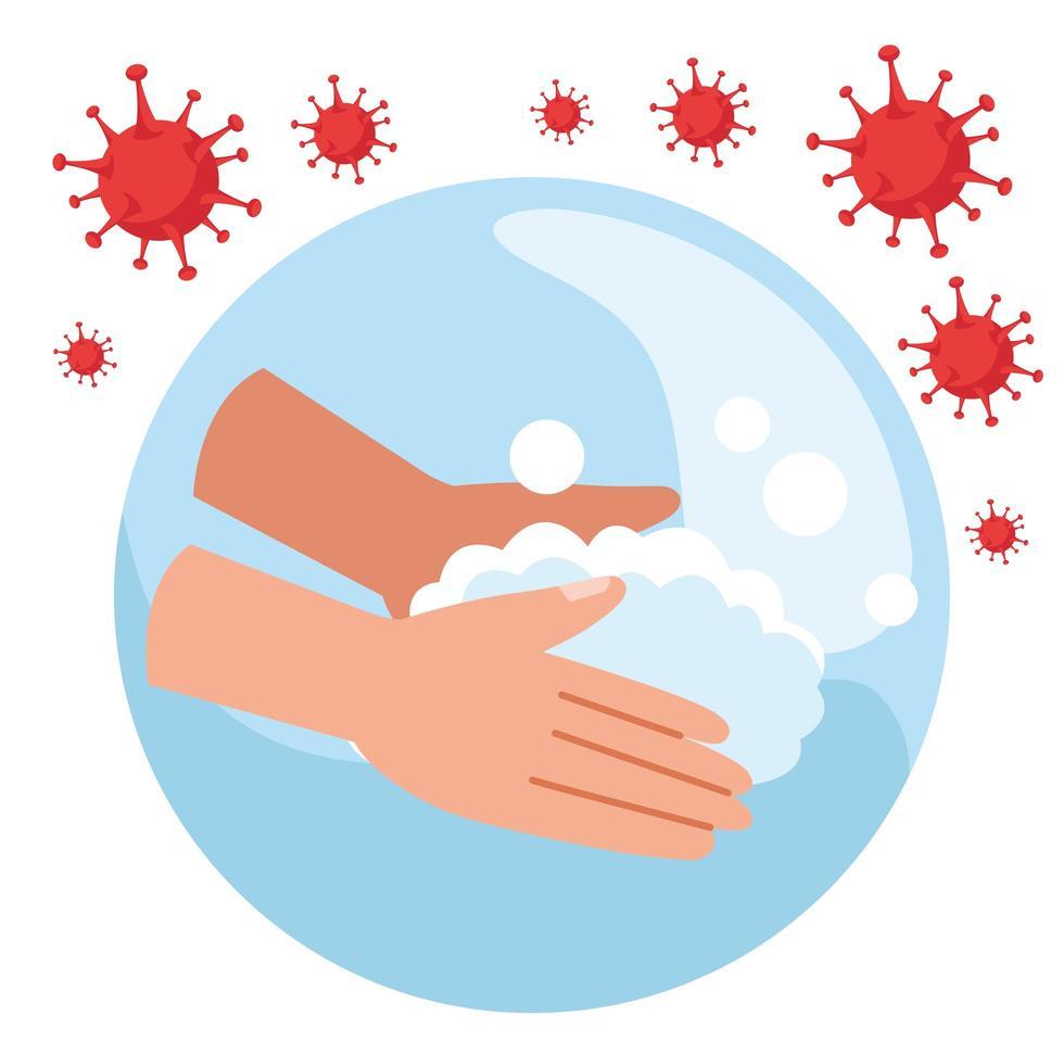 handen wassen met covid19 deeltjes vector