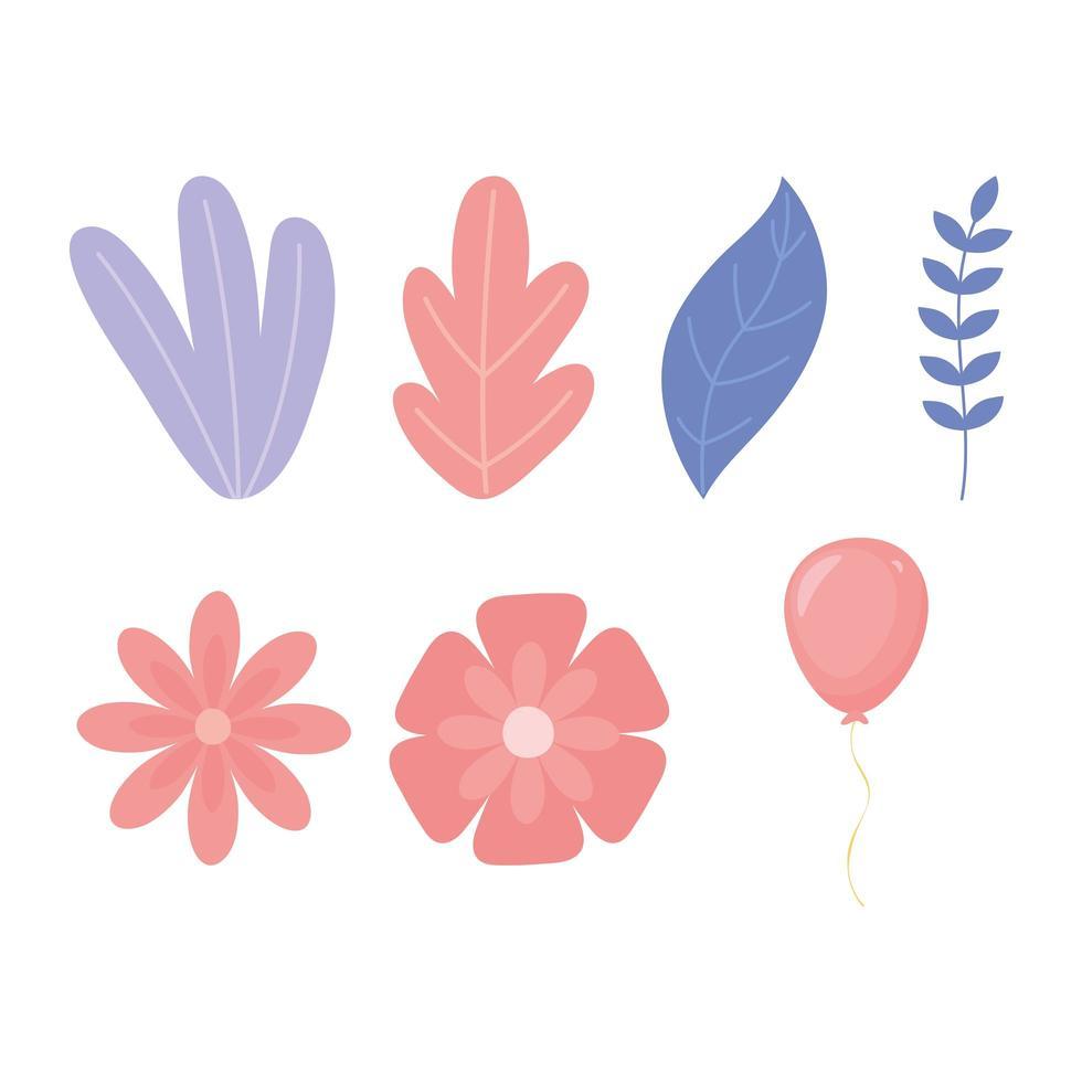 feestelijke set met bladeren en bloemen vector