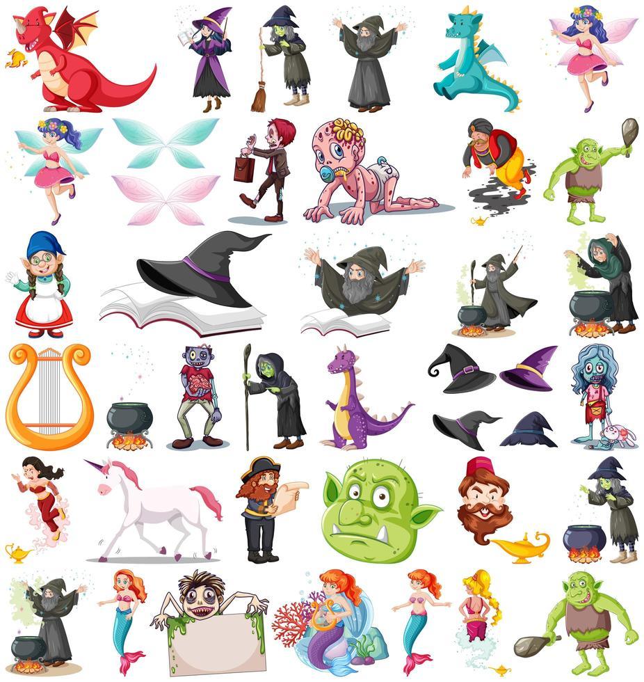 set van verschillende sprookjesachtige stripfiguren vector
