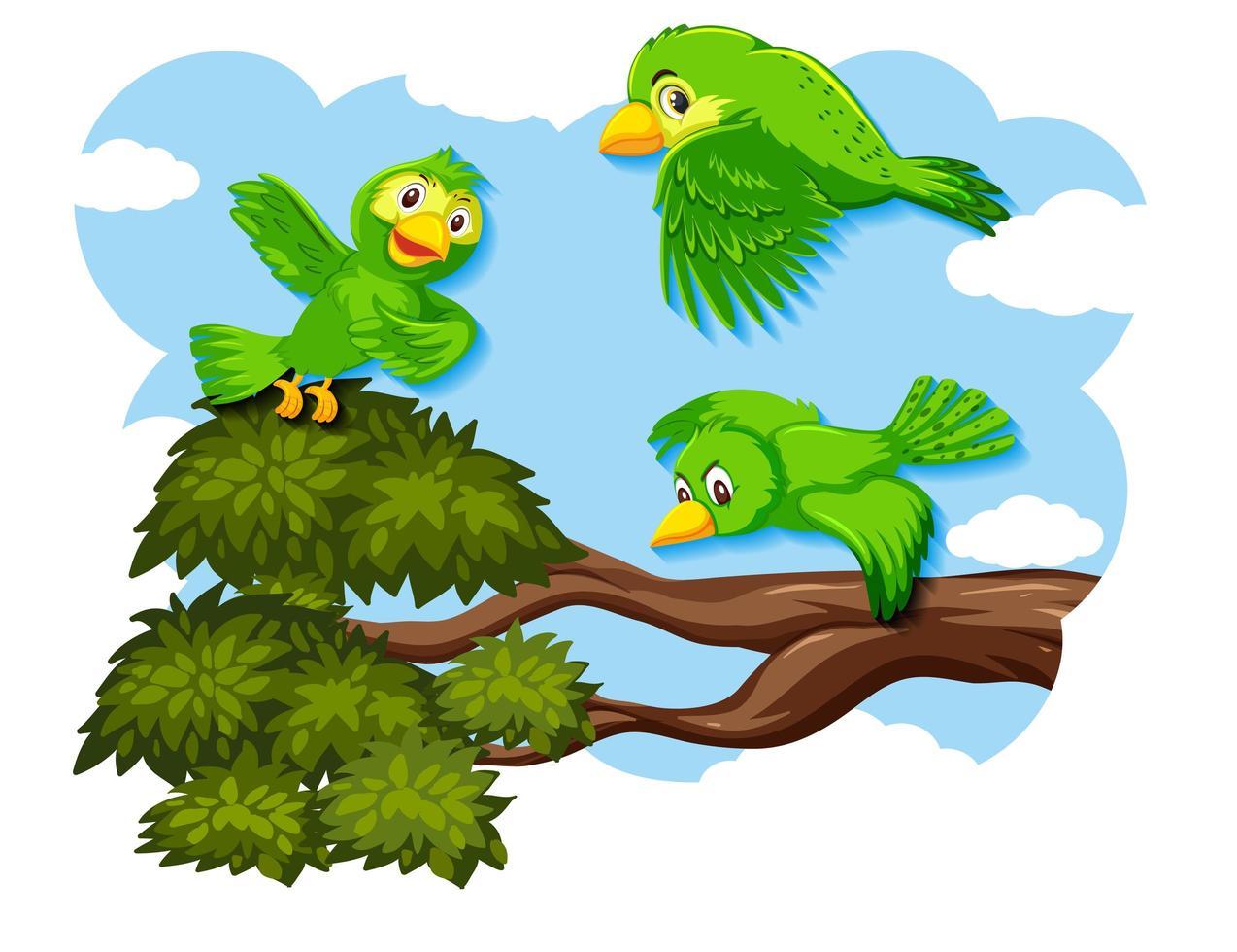gelukkige vogel met het vliegen in de natuur vector