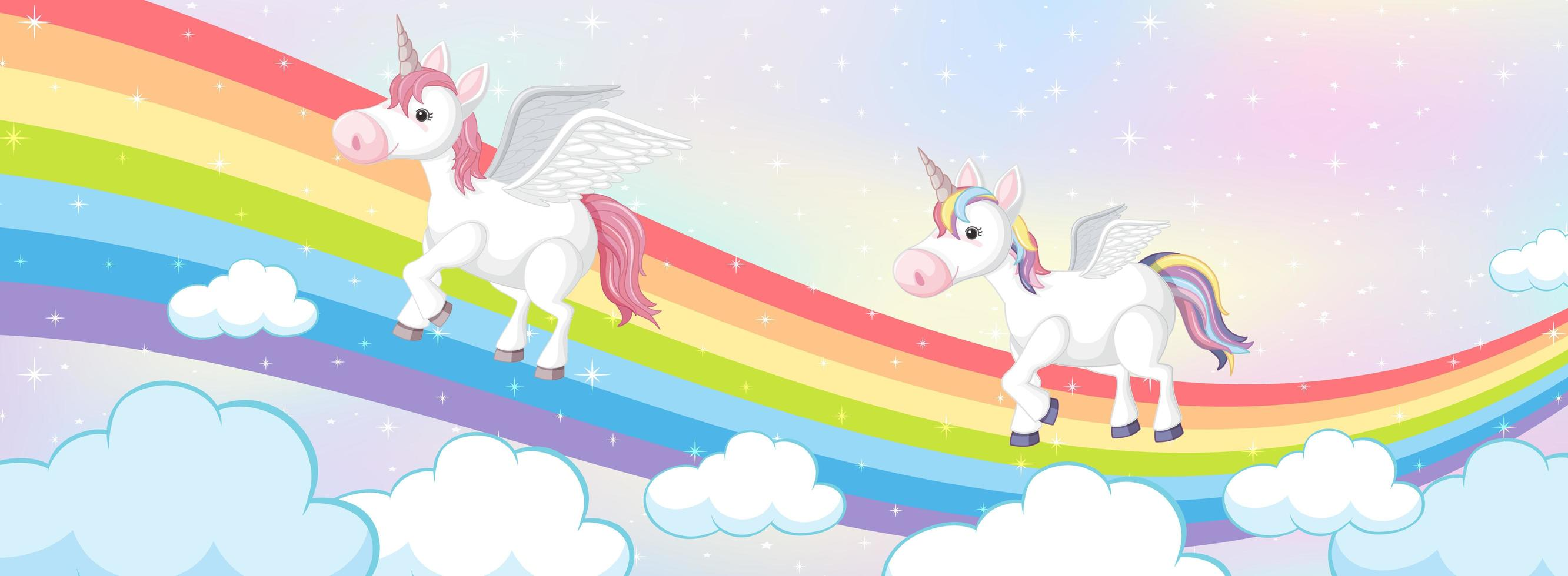 eenhoorns op magische regenboog pastel achtergrond vector