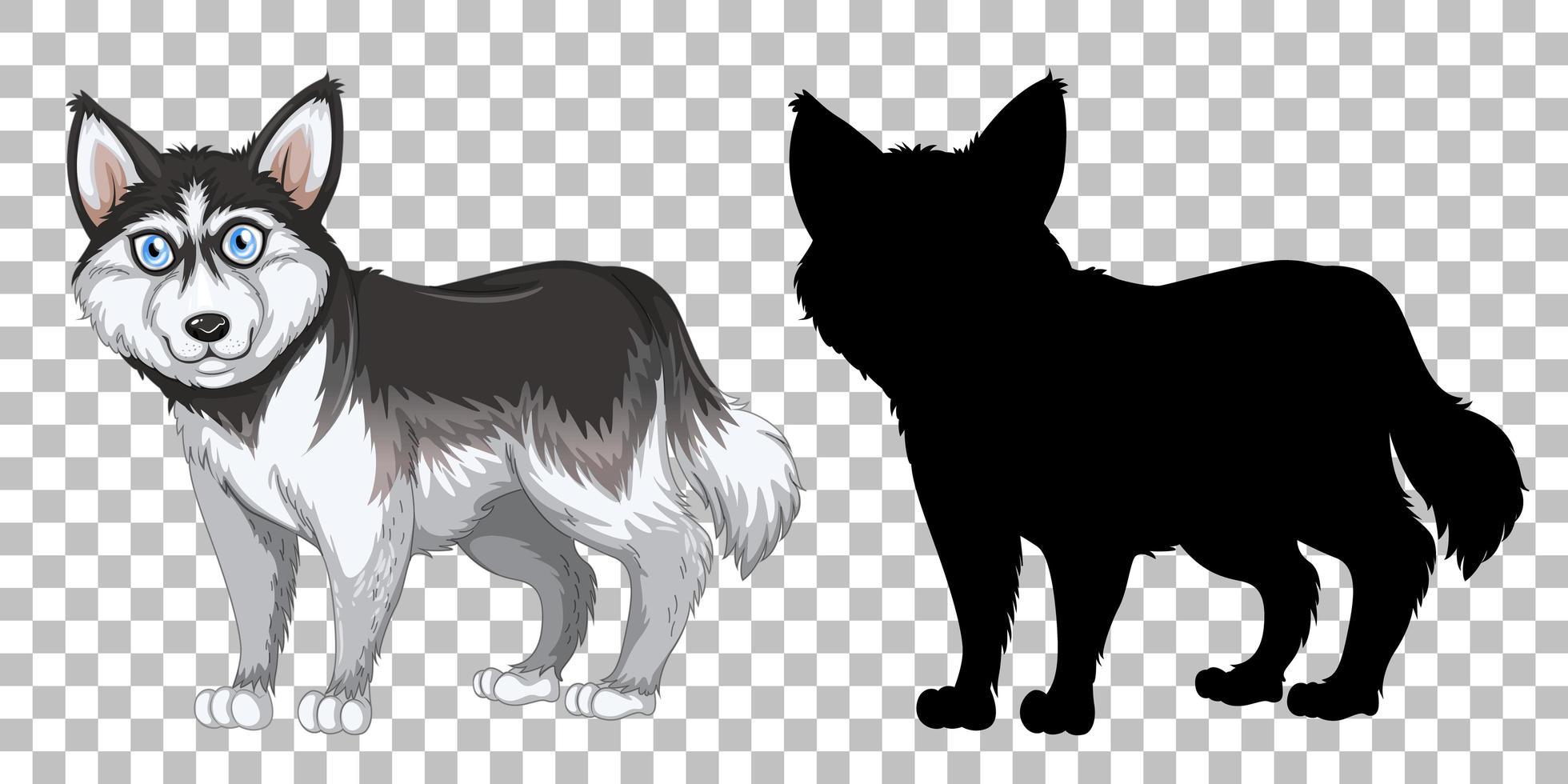 schattige siberische husky en zijn silhouet vector
