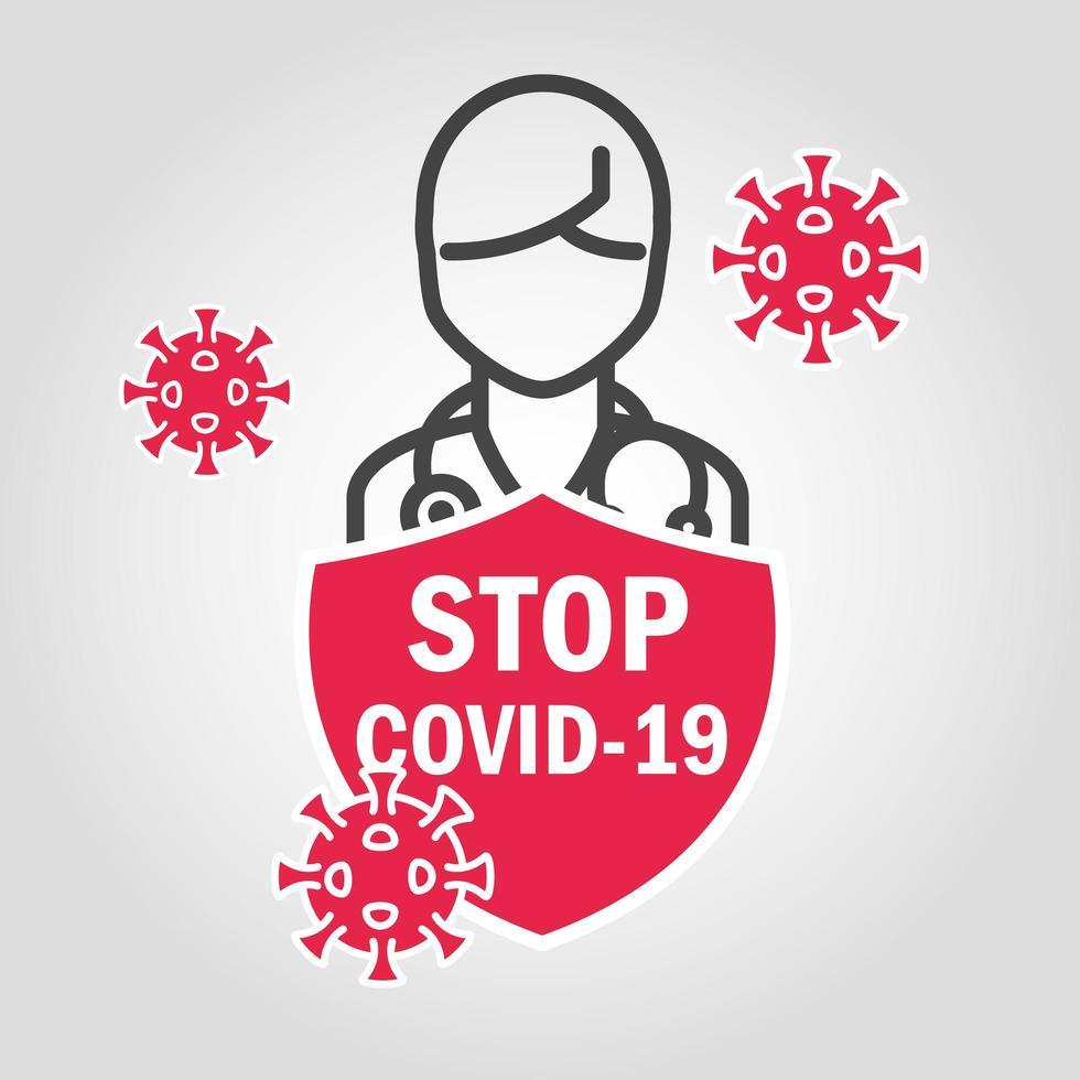 stop covid-19 met pictogramteken vector