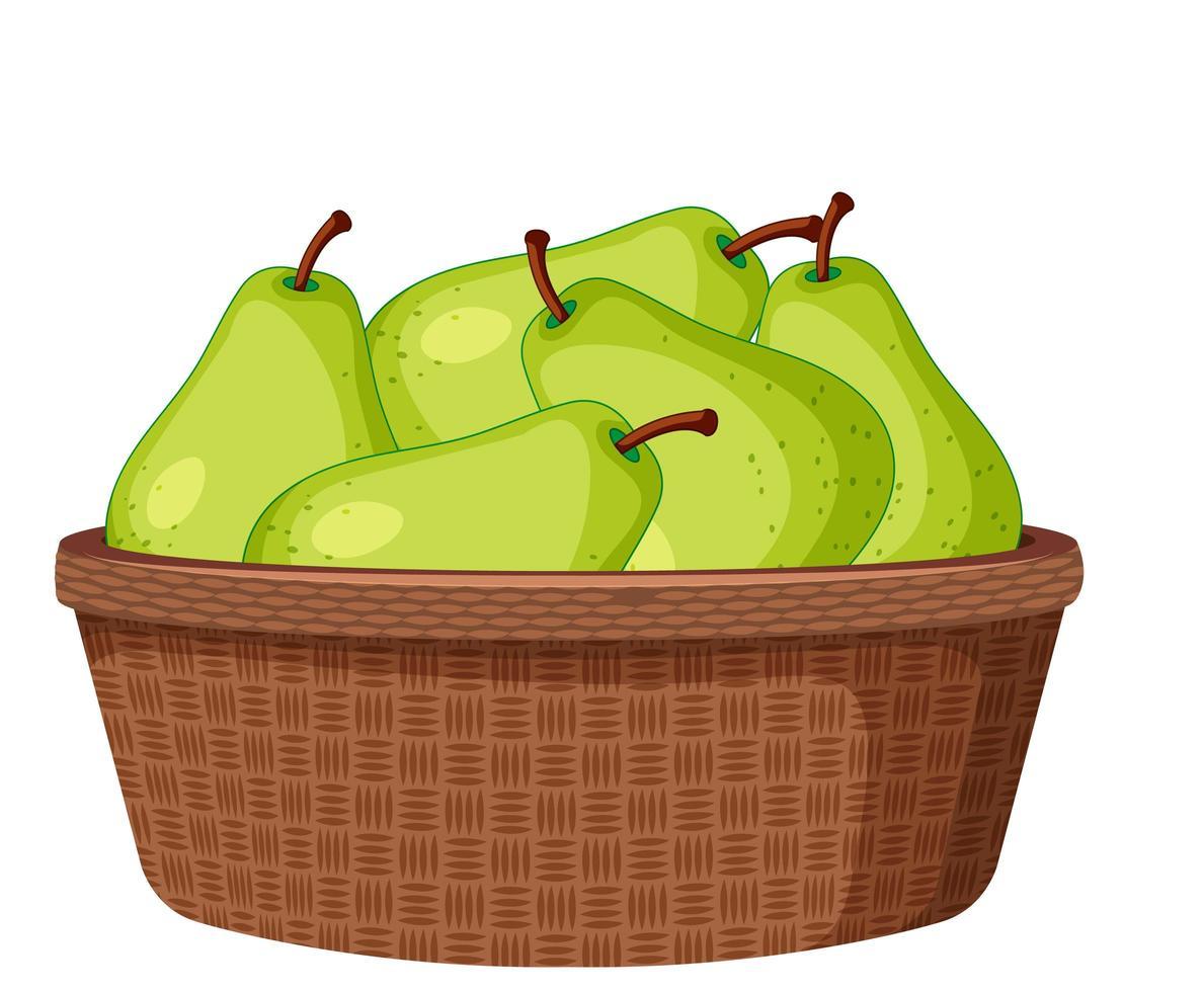 groene peren in de geïsoleerde mand vector