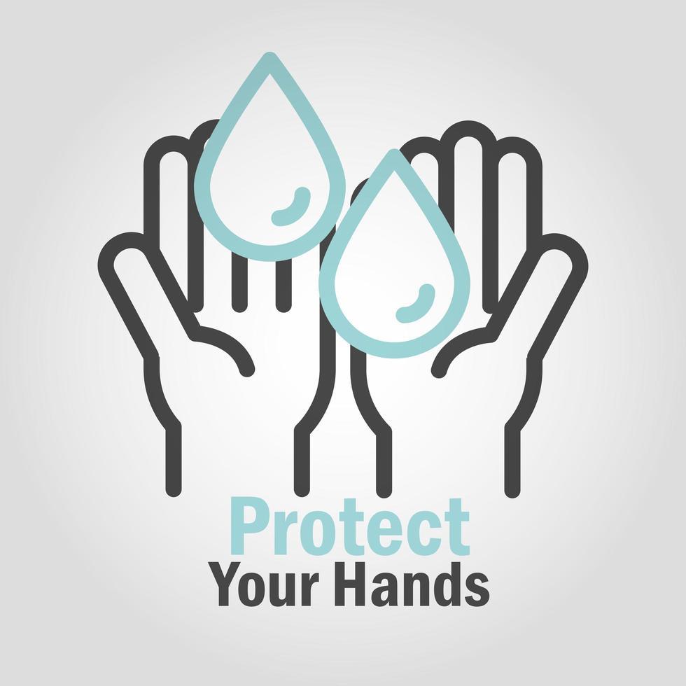 bescherm en was uw handen pictogram met bericht vector