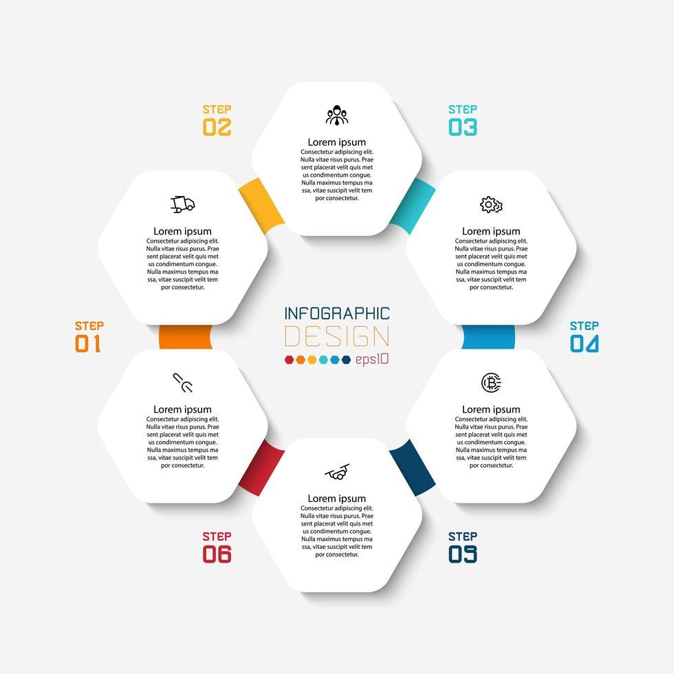 zeshoekige vorm infographic met kleurrijke cirkelverbinding vector