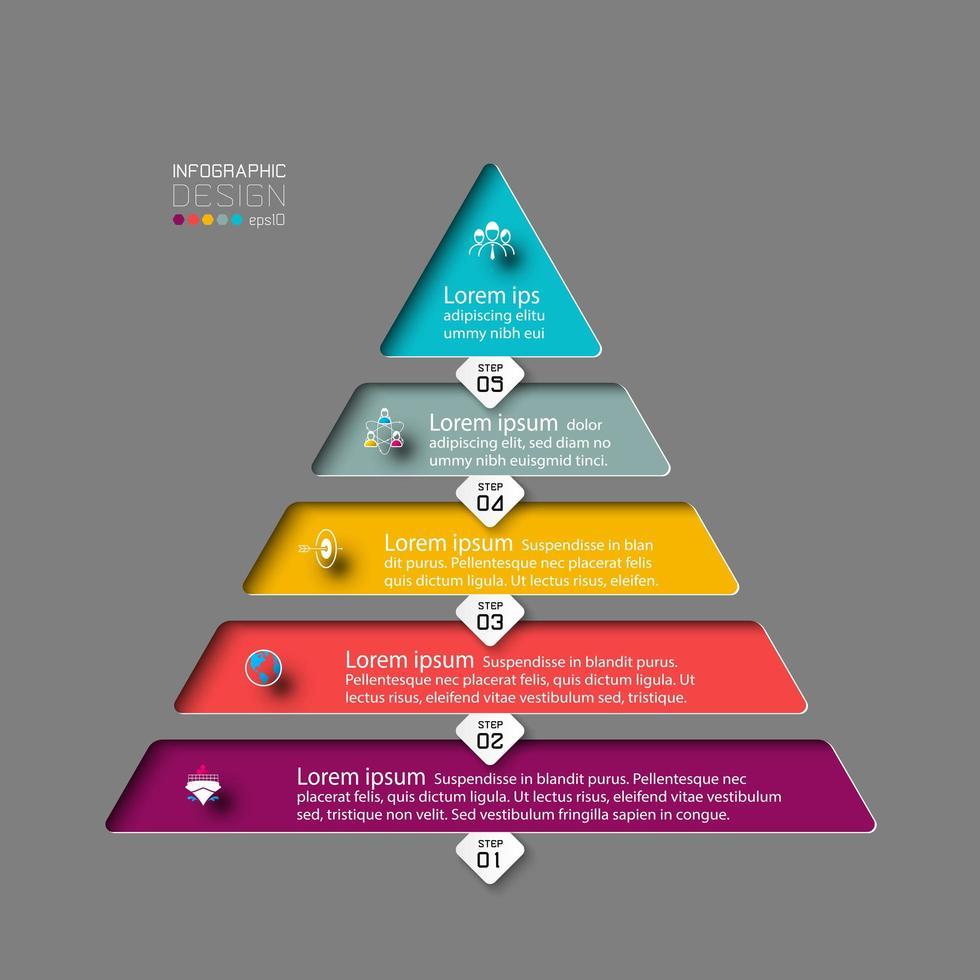 5 kleurrijke infographic piramidestappen vector