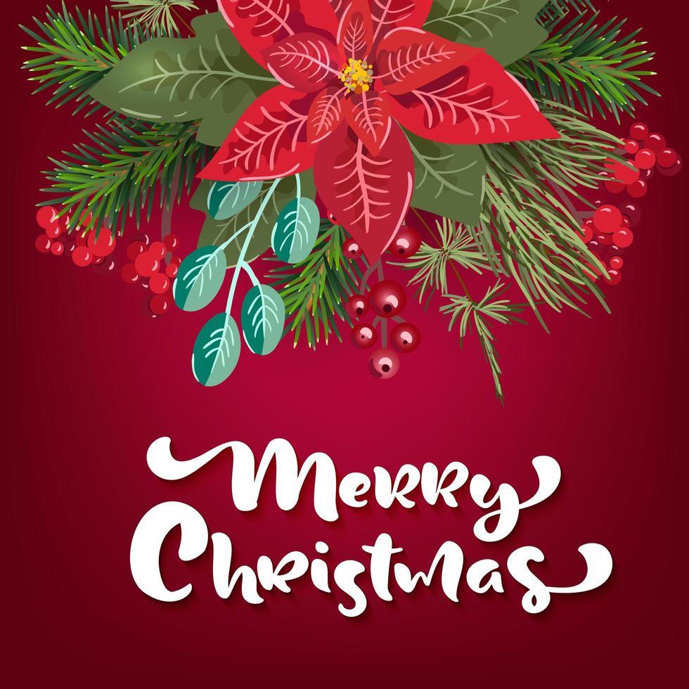 vrolijk kerstfeest uitnodiging op rood vector
