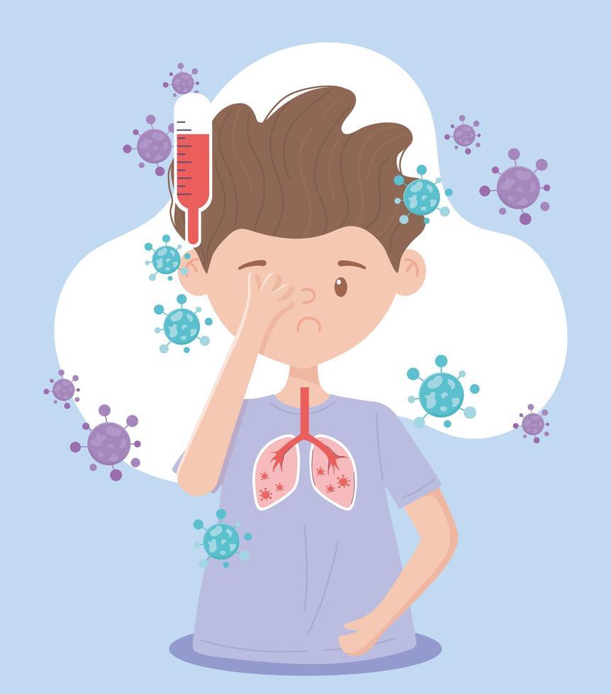 jongen met symptomen van het coronavirus vector