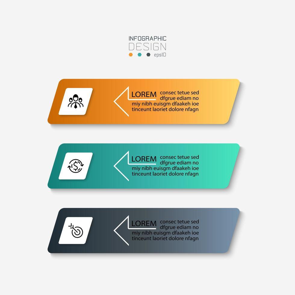 eenvoudige rechthoekige label infographic set vector