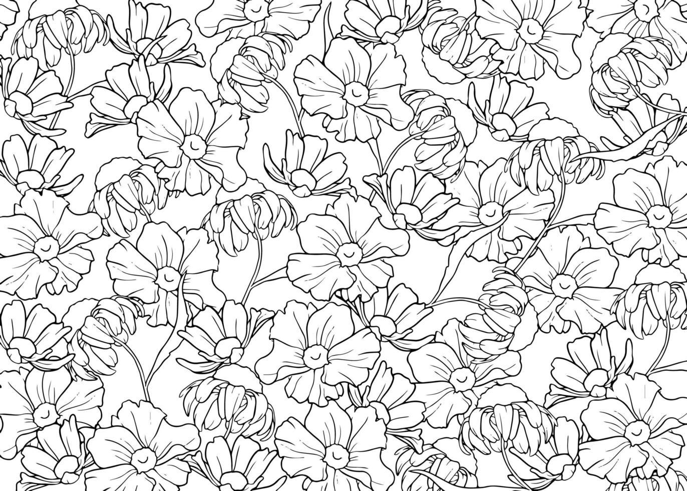 hand getrokken schets bloemen vector