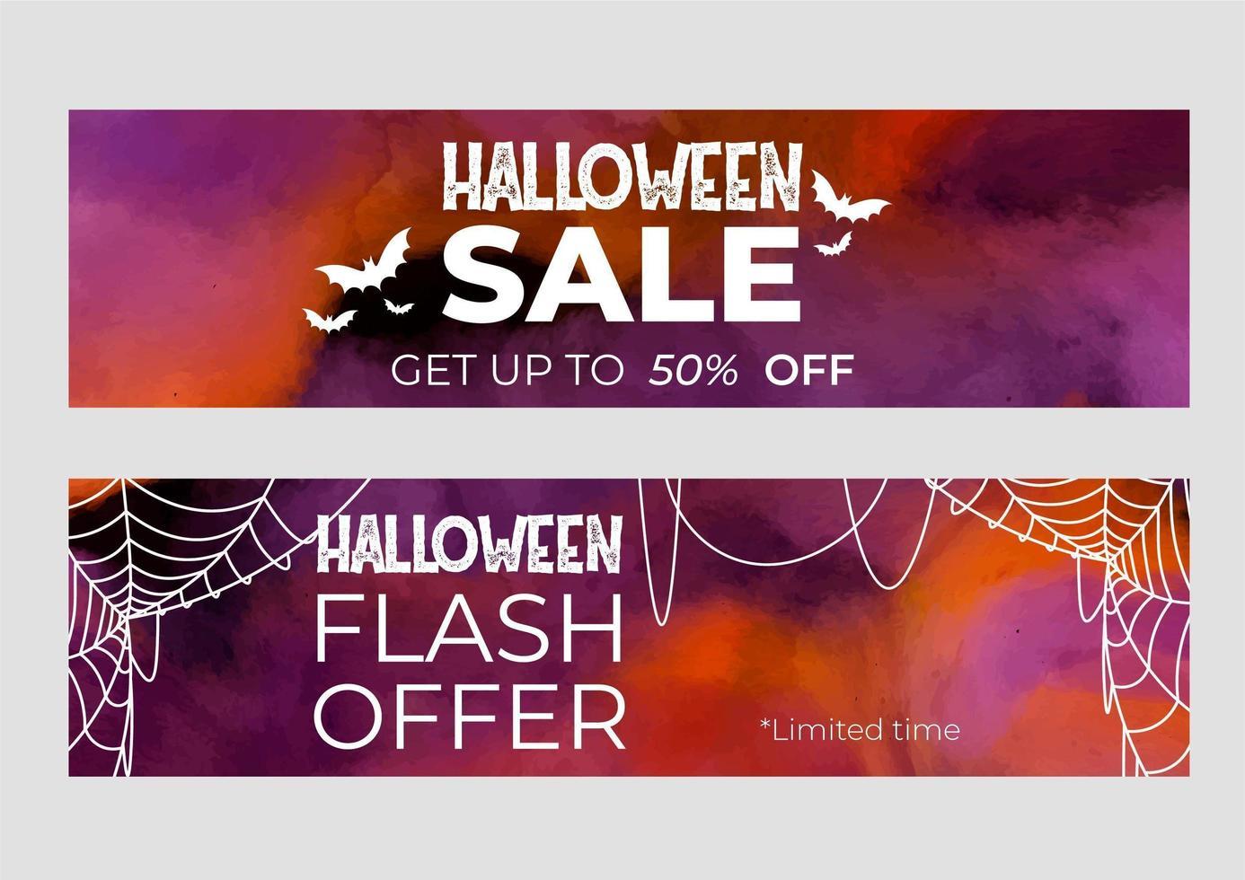 halloween verkoop banners vector