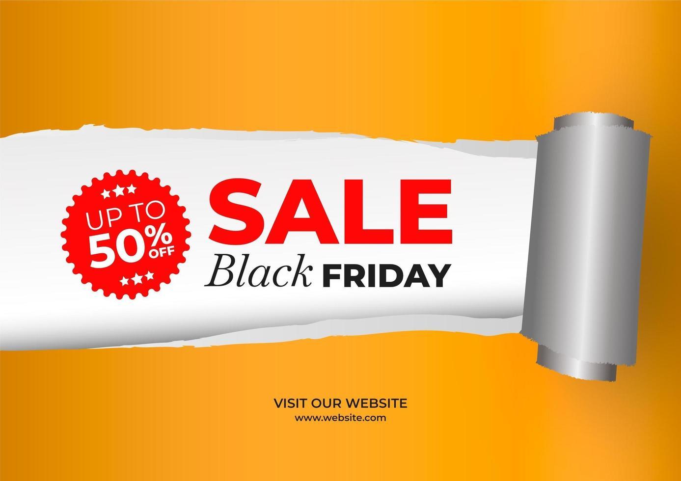 zwarte vrijdag verkoop banner met gescheurd papier effect vector