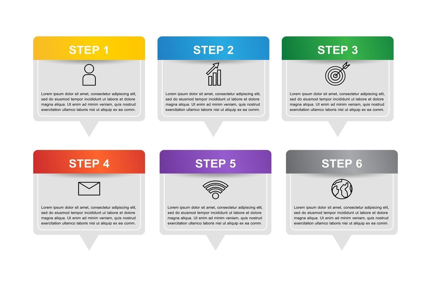 infographic sjabloonontwerp met 6 stappen vector