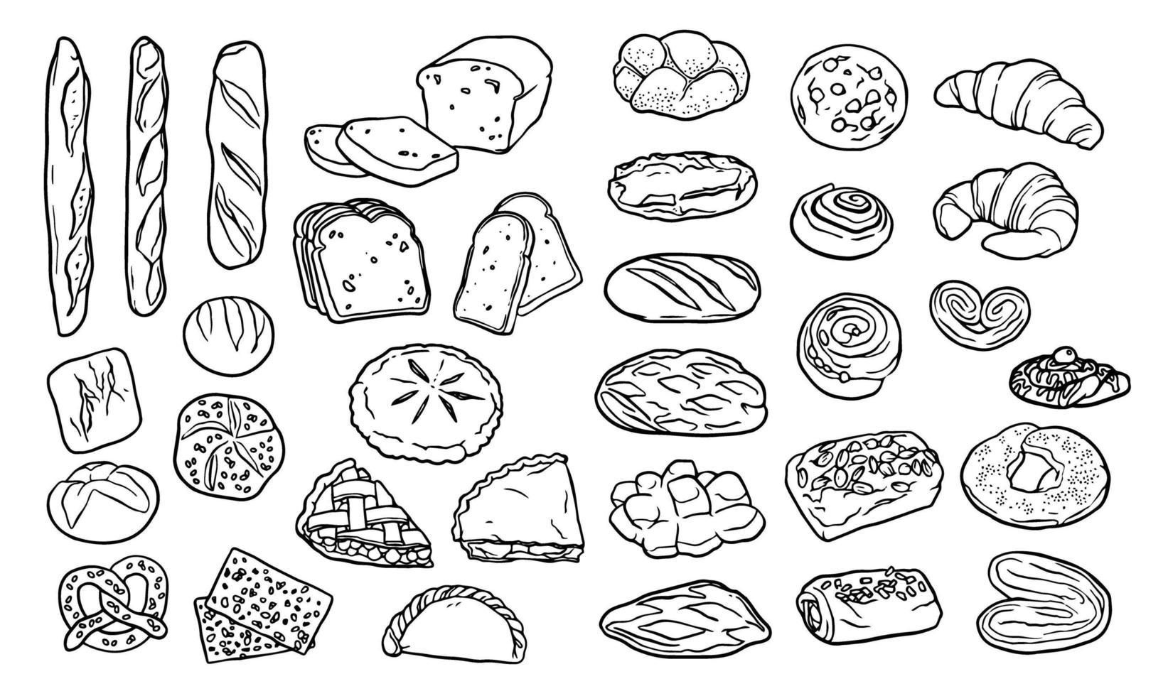 verzameling handgetekende elementen voor bakkerij vector