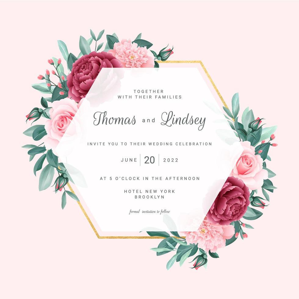 roze bloemen geometrisch huwelijkskader vector