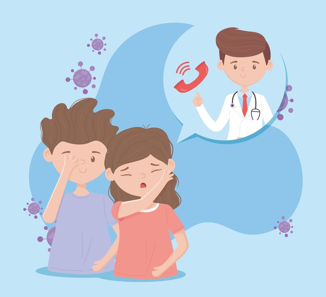 zieke patiënten die medische zorg krijgen aan de telefoon vector