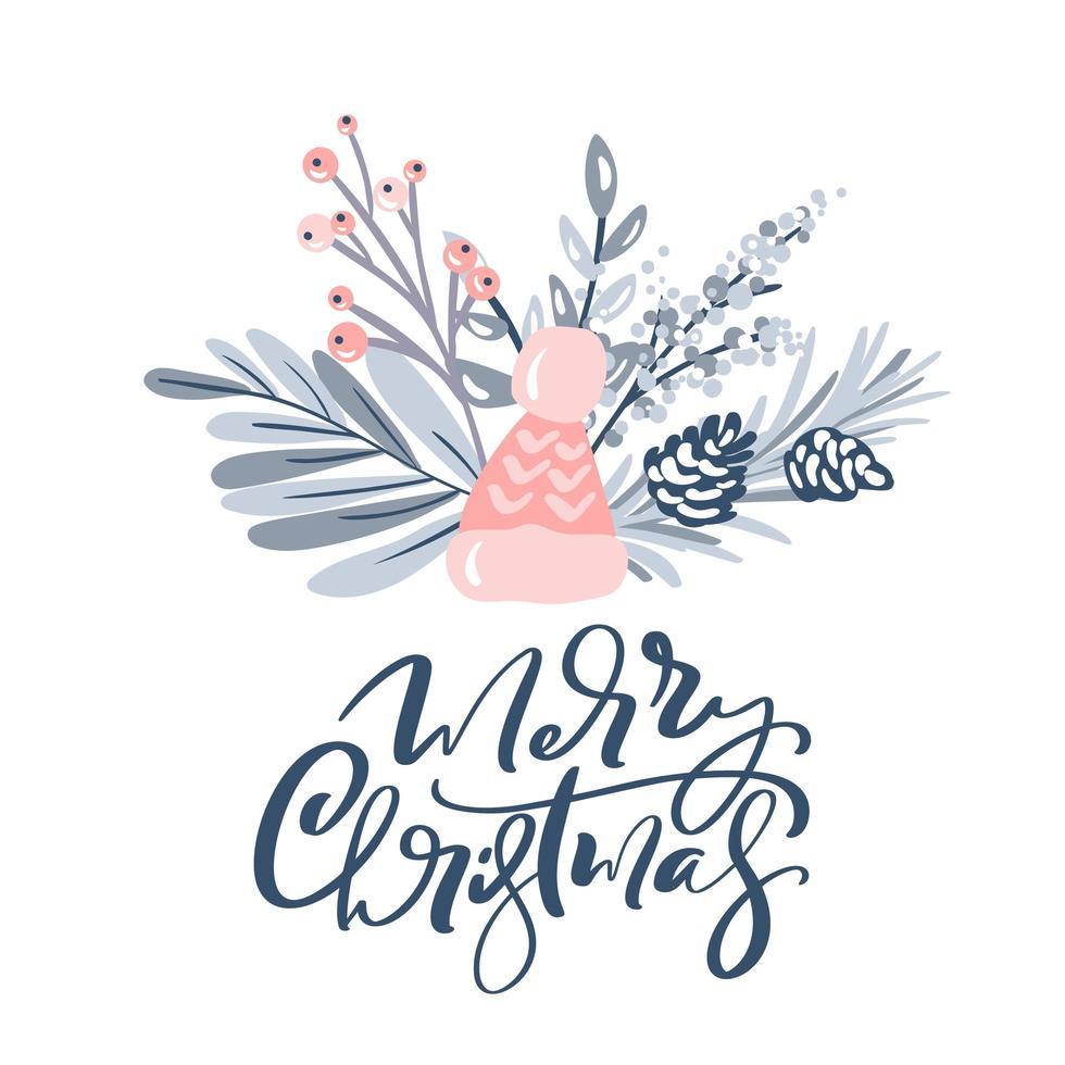 vrolijk kerstfeest wenskaart ontwerp met florale elementen vector
