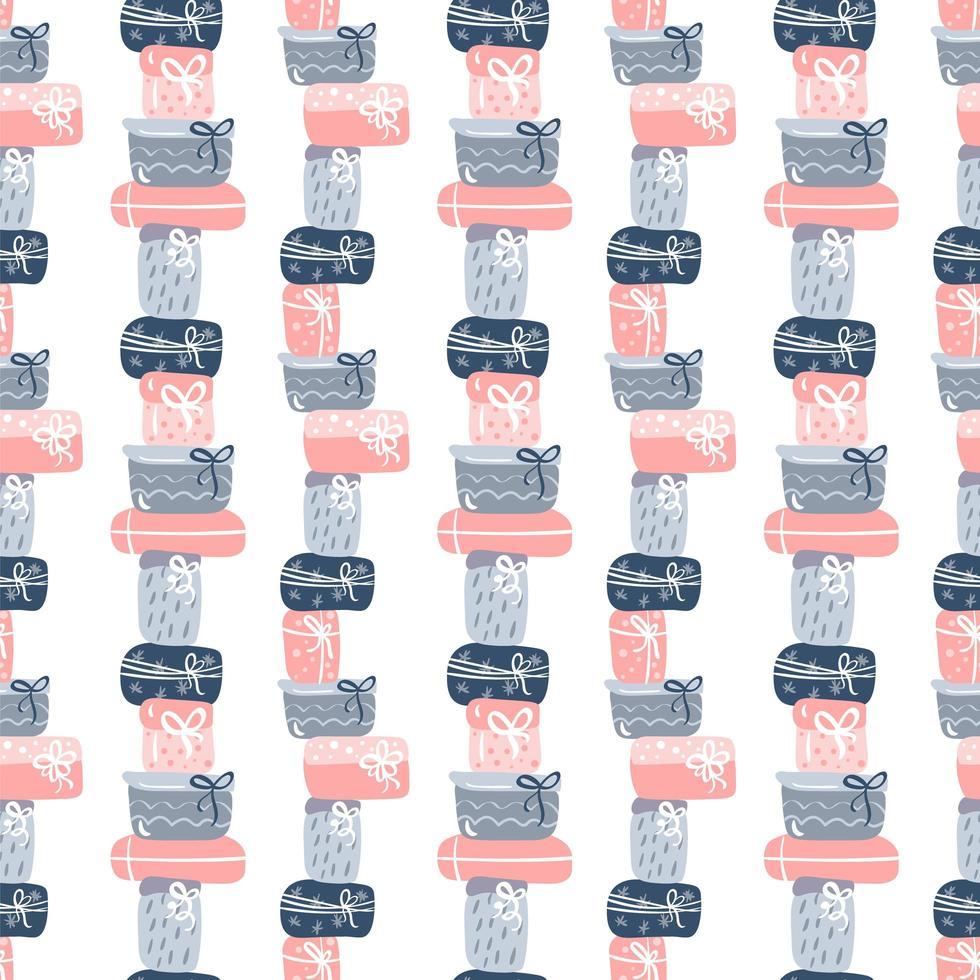 naadloze patroon textuur met hand getrokken geschenkdozen ontwerp vector