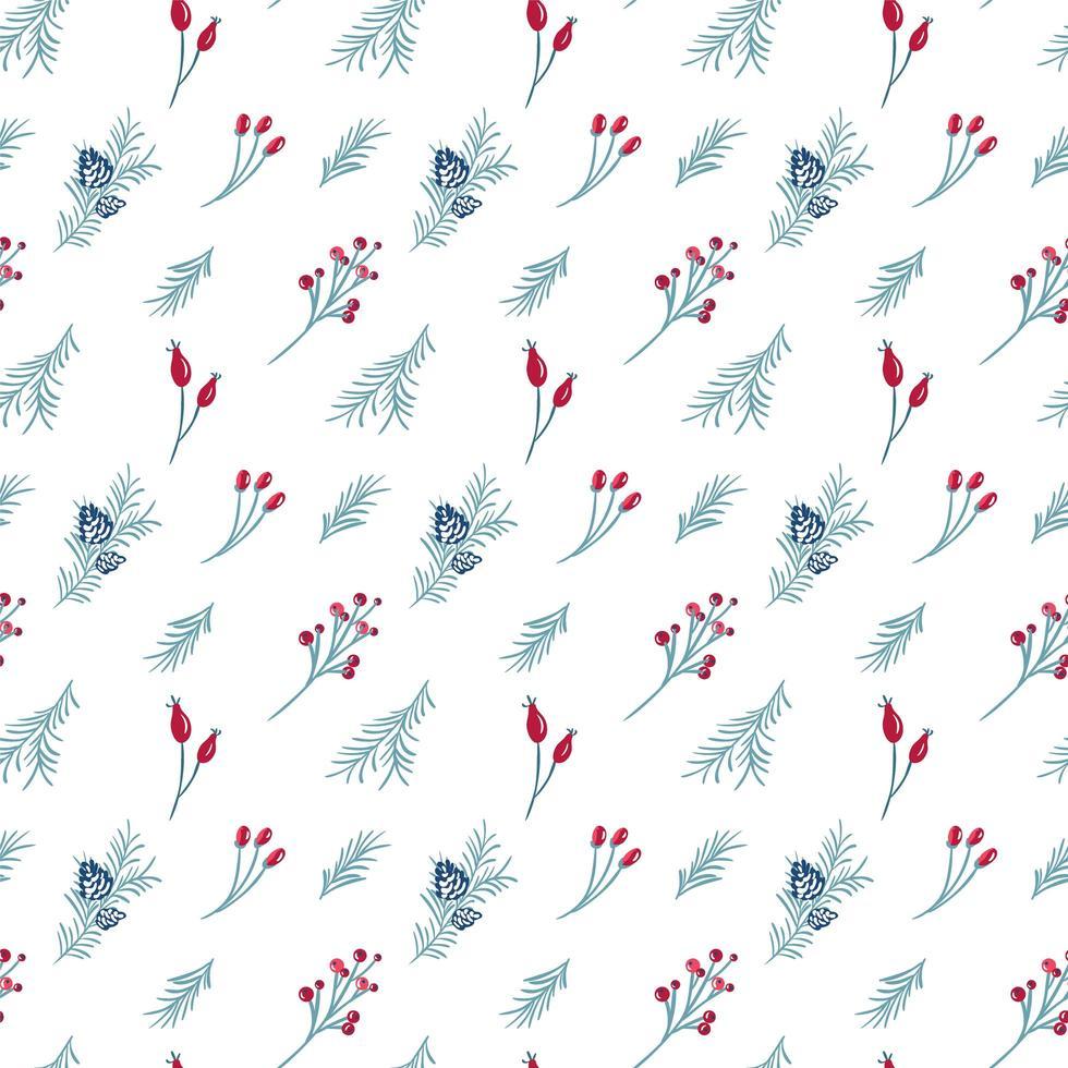 Kerst naadloze patroon van rode bessen en pijnboomtakken vector