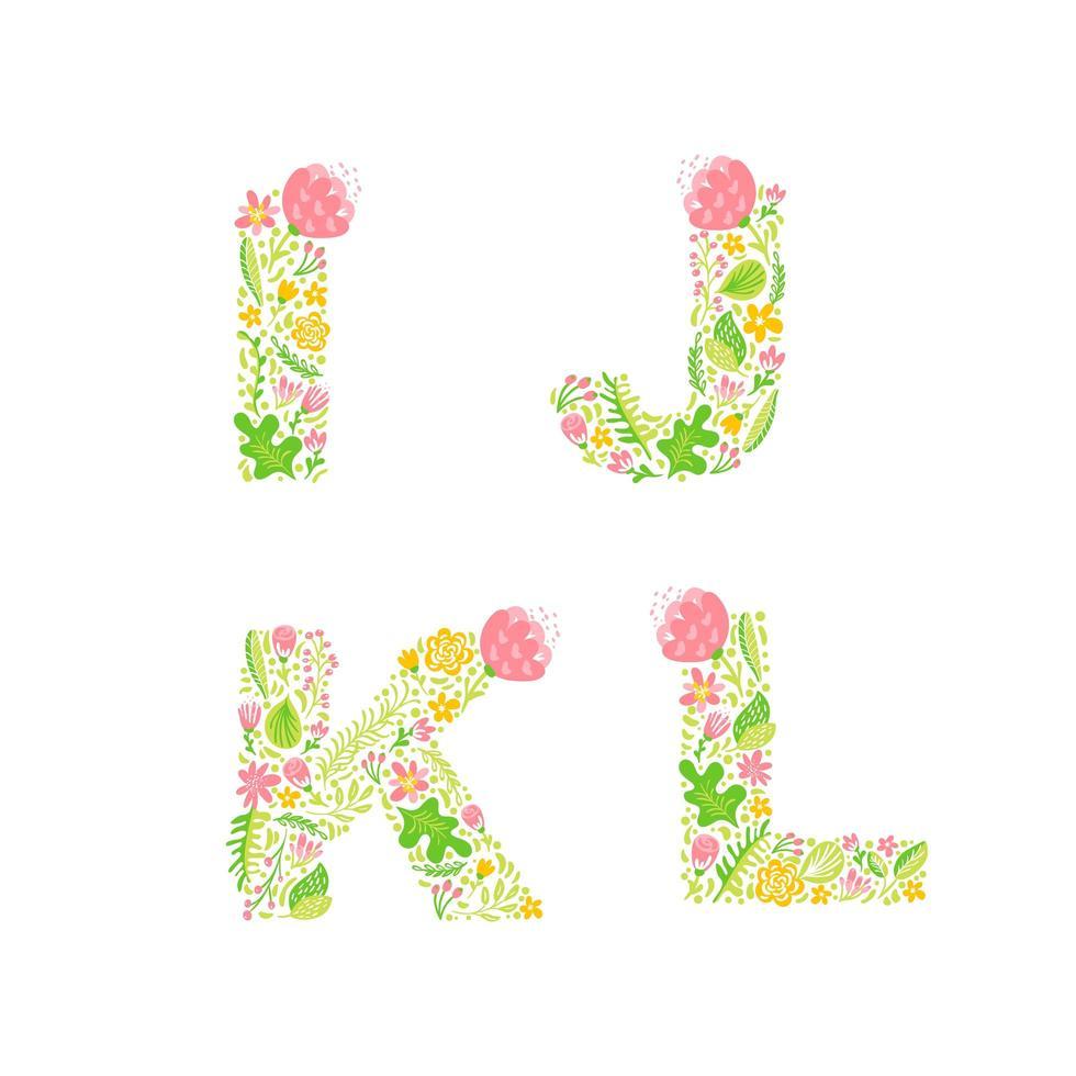 hand getrokken bloemen monogrammen in hoofdletters vector