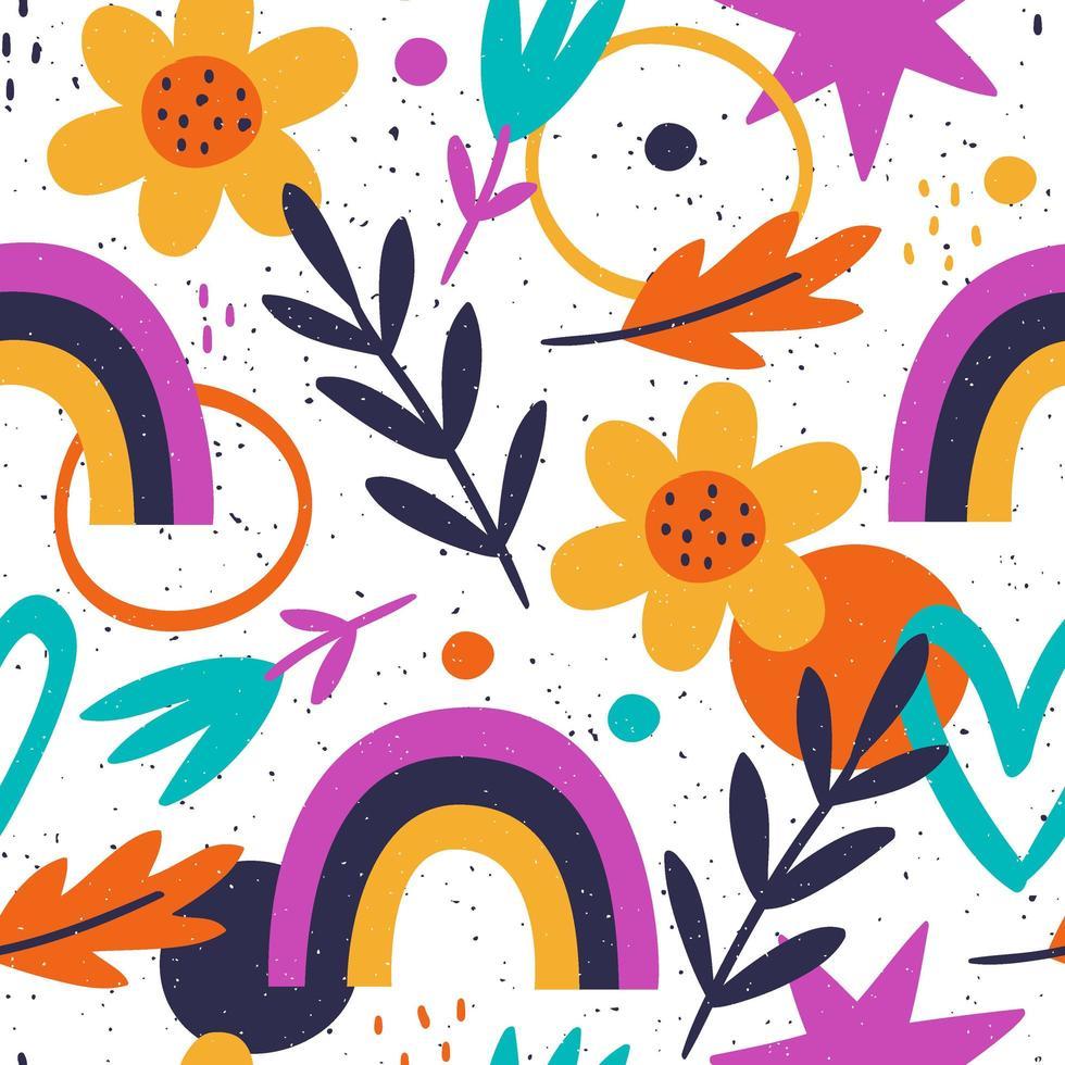 hand getekend patroon met bladeren en kleurrijke vormen vector