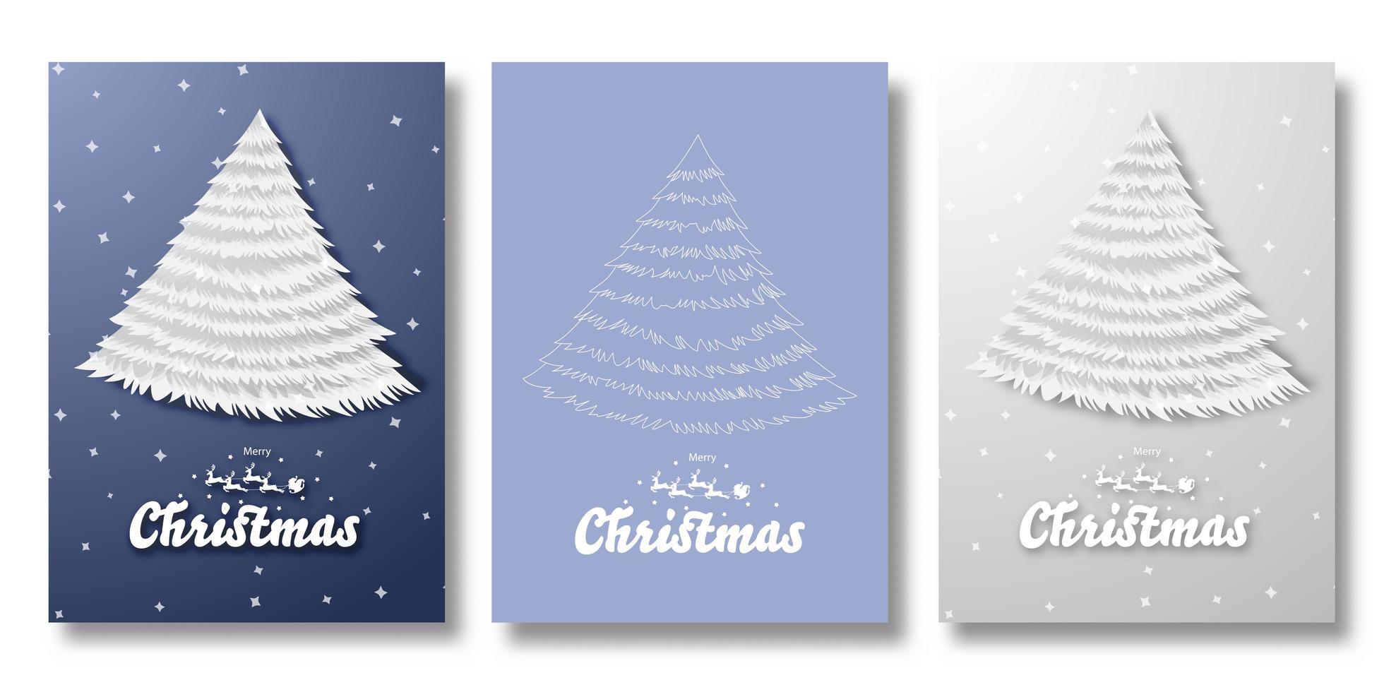 vrolijke kerstkaarten met kerstbomen vector