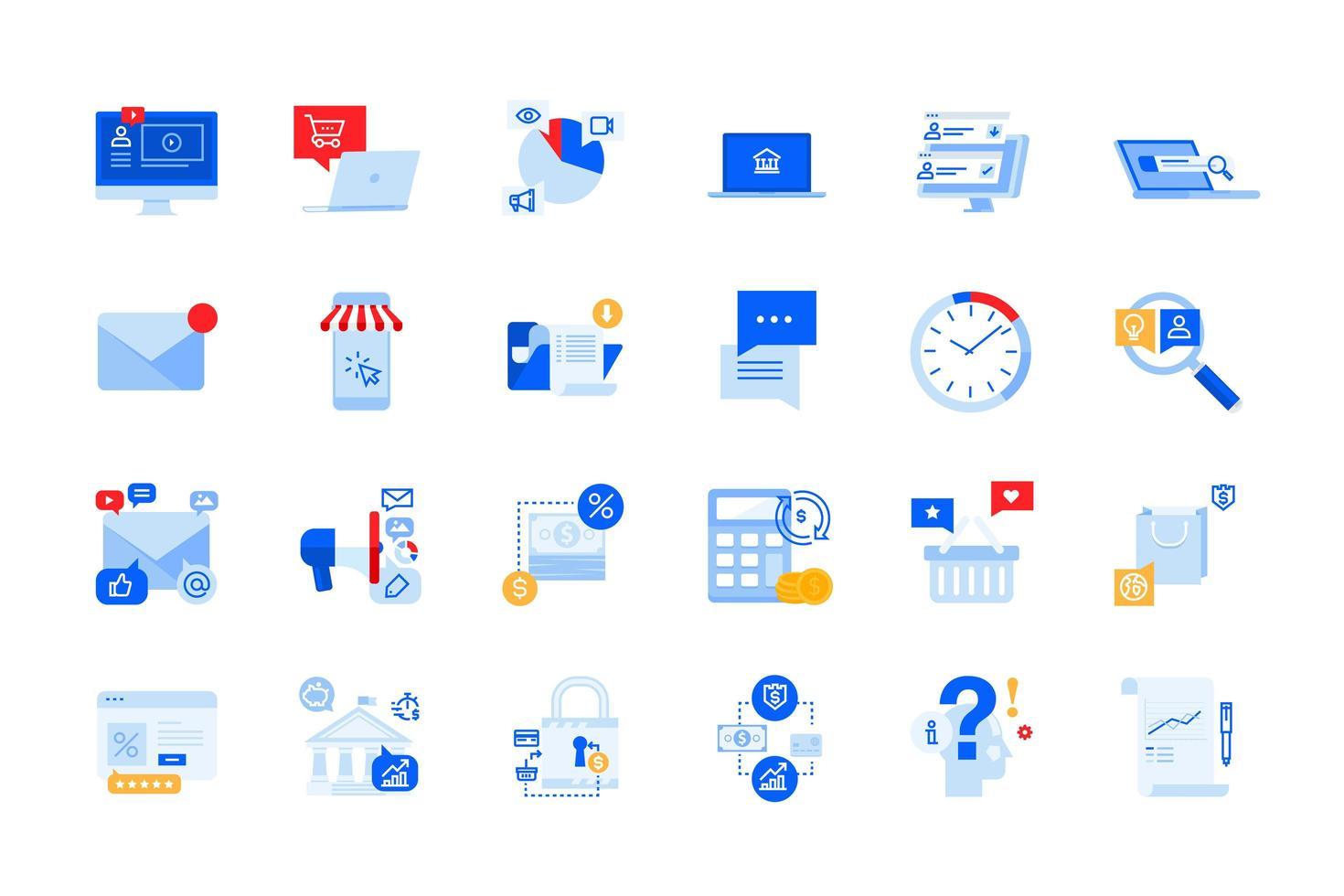 online communicatie, e-commerce, reclame voor moderne iconen vector