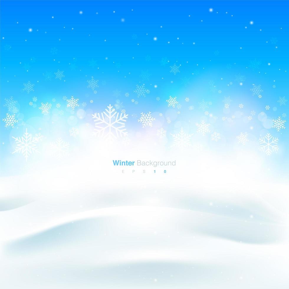Kerstmis en wintersneeuwvlokontwerp met exemplaarruimte vector