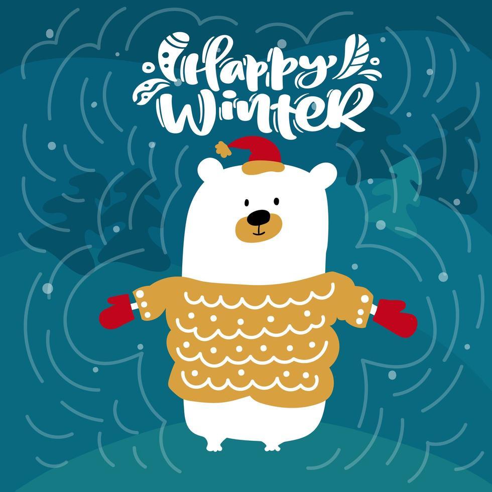 ijsbeer en gelukkige winterkalligrafie vector