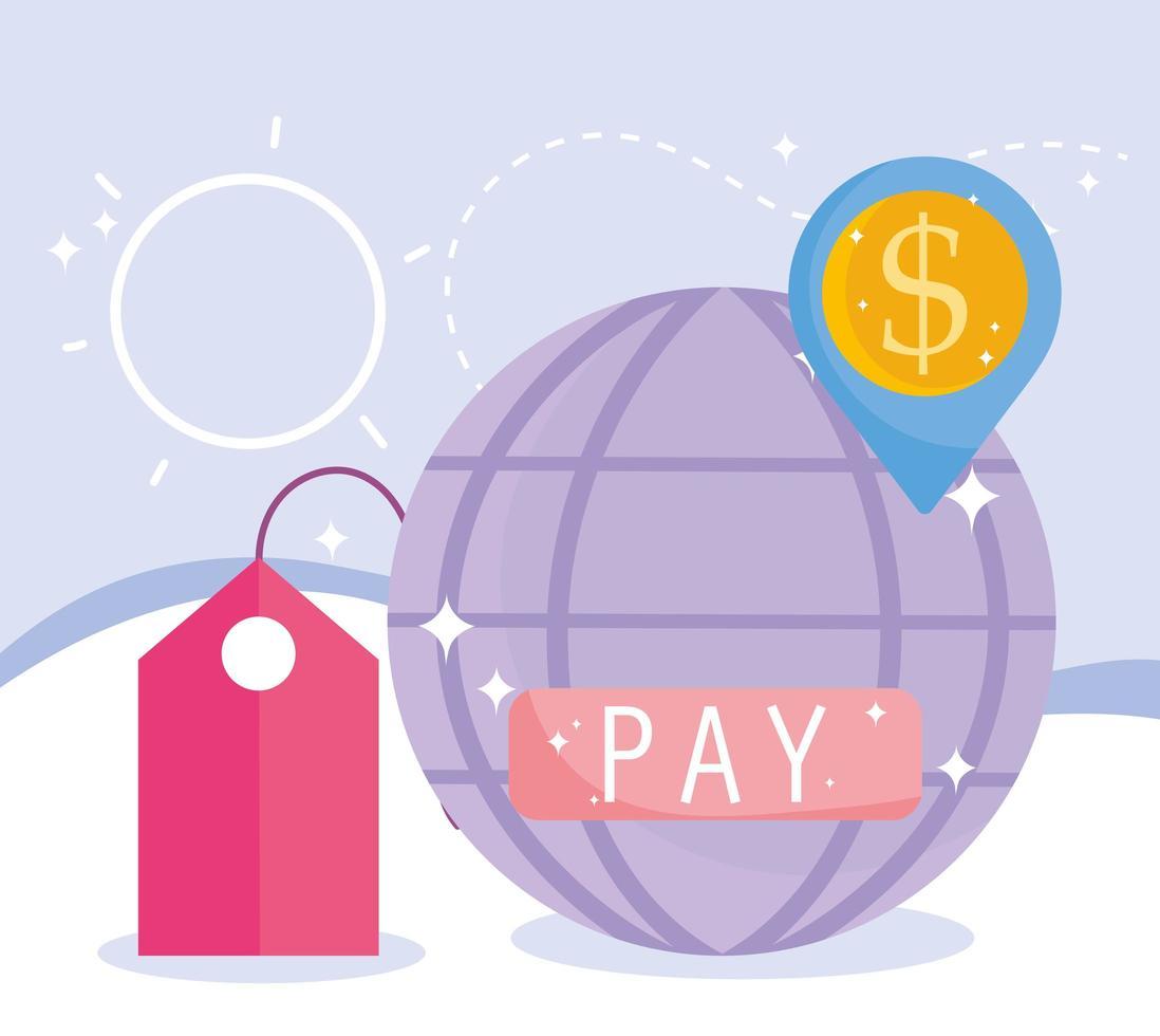 samenstelling van online betaling en e-commerce vector