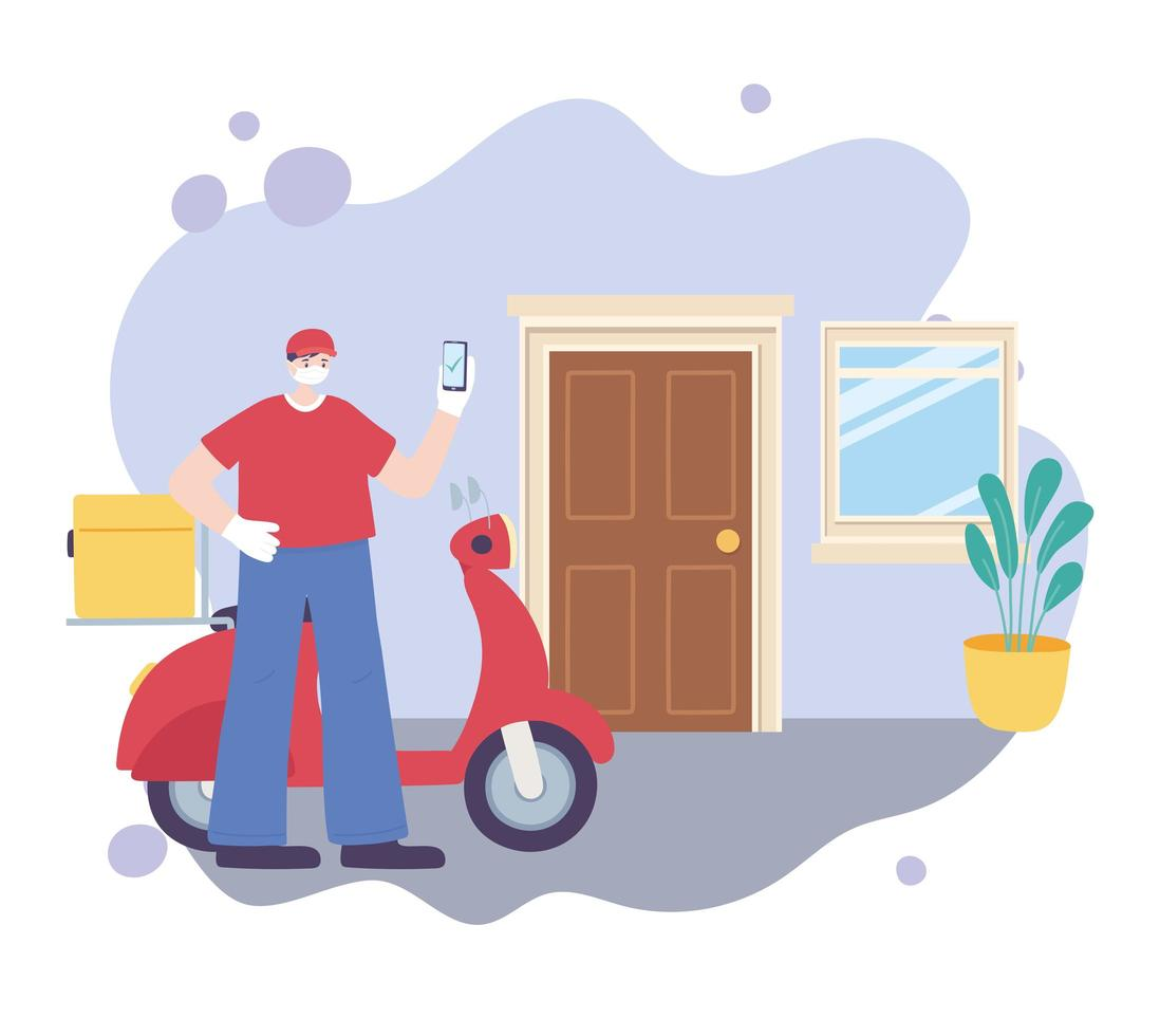 online levering met motorkoeriersdienst vector