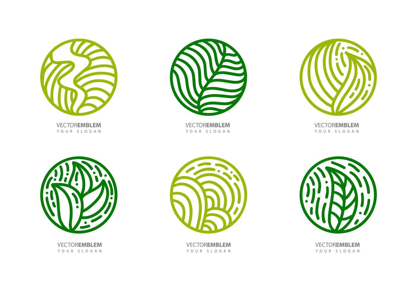 set ronde bio-emblemen in de lineaire stijl van een cirkel vector
