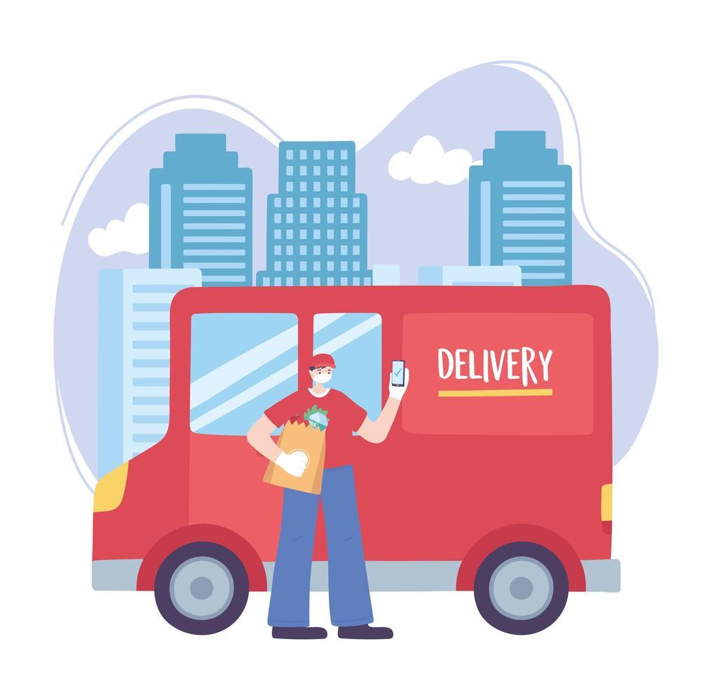 online bezorgservice met vrachtwagenchauffeur vector