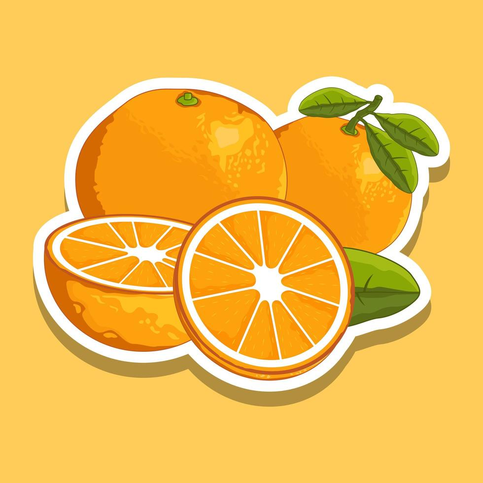 verse cartoon oranje fruit set vector