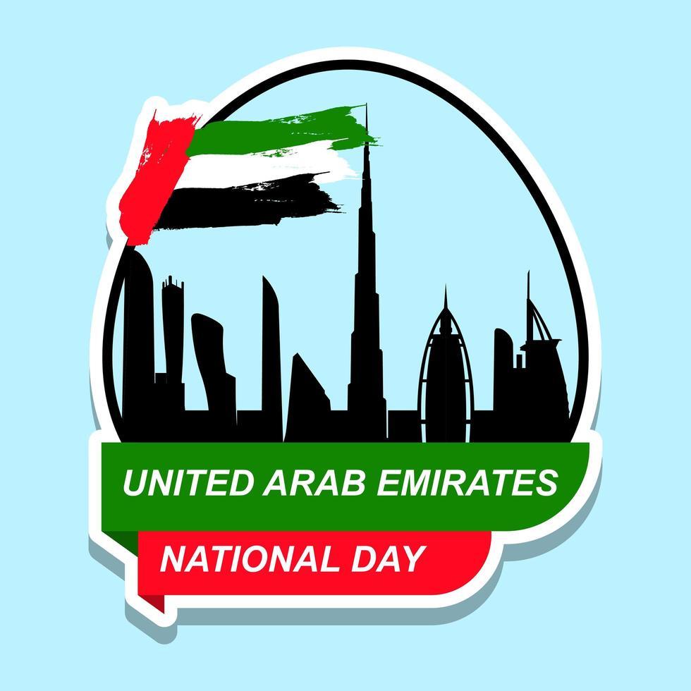 ontwerp van de stickerontwerp van de nationale dag van de verenigde arabische emiraten vector